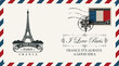 Vector envelope or postcard in retro style with Eiffel tower, postmark in form of French coat of arms and postage stamp with French flag. Inscription I love Paris