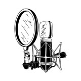 Vector engraved style illustration for posters, decoration and print. Hand drawn sketch of studio microphone in black isolated on white background. Detailed vintage etching style drawing.
