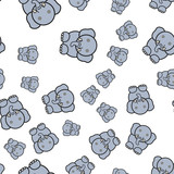 Seamless pattern of elephants in cartoon style