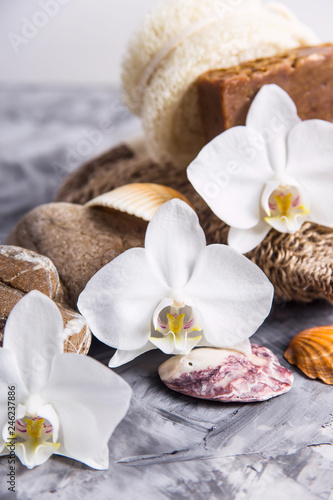 White orchid flowers next to sea stones and shells on a gray background - spa treatments and relaxation concept - 246237886