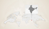 Map of India with neighbor countries pinned on world map.