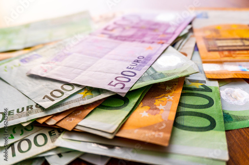 Euro banknotes in salary envelope  Open envelope with money