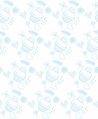 blue pattern kuki and flowers vector illustration