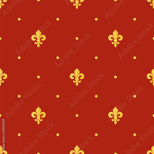 Seamless vintage gold pattern with Fleur-de-lis. Vector