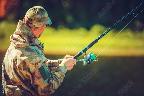 Leinwandbild Motiv Fly Fishing Hobby