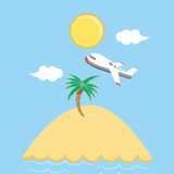 seascape beach with airplane scene