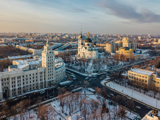 Evening winter Voronezh downtown cityscape. Tower of management of south-east railway and Annunciation Cathedral