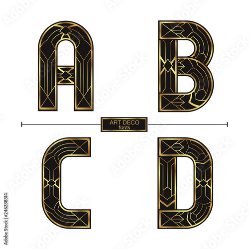 Alphabet Art Deco style in a set ABCD