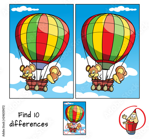 fototapeta na ścianę Two little mice are traveling in a hot air balloon. Find 10 differences. Educational game for children. Cartoon vector illustration