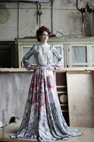 Elegant woman in romantic dress. Fashion shot.
