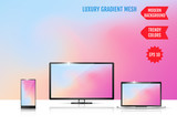 Modern abstract background. Colors transition concept. Gradient mesh. Trendy colored Surface. An example of the use of the proposed background on the screen of a laptop, smartphone and TV - 246313636