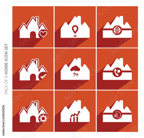 Home icons set with shadow in trendy flat style isolated on color background. Set of 9 white real estate vector icons for web site, graphic design and mobile apps. - 246324058