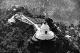 Aerial view of the World Peace Pagoda in Pokhara, Nepal. Black and white photography. - 246328691