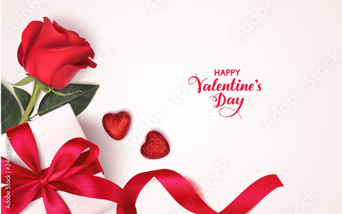 Valentine's day design template. Banner with gift box, red rose and decorative heart. Vector illustration © Gizele