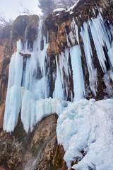 Frozen waterfall in the winter