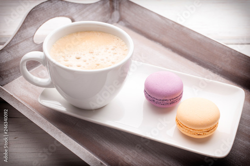 Coffee and macaroons. © gitusik