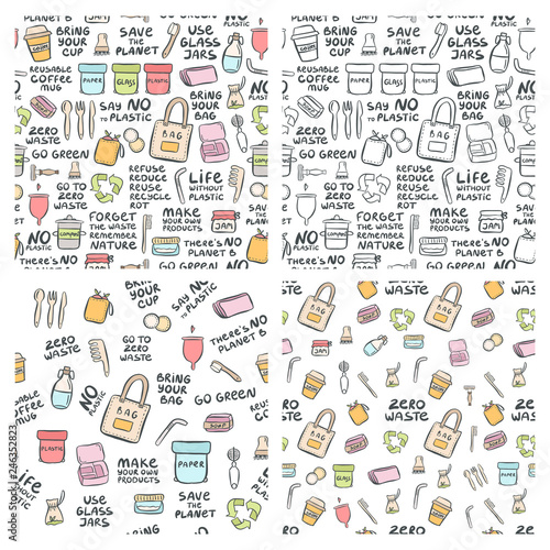 Hand drawn seamless patterns of zero waste © Yana Alisovna