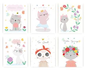 Set of cute cat vector.