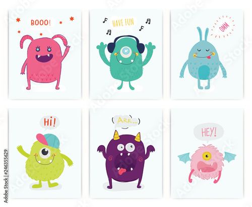 Set of cute monster. Kid. T-shirt, card. Vector.
