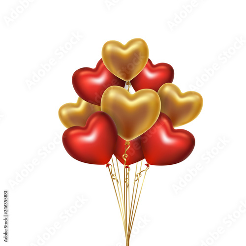 Set of Golden and Red heart balloons isolated on white background. Vector illustration.