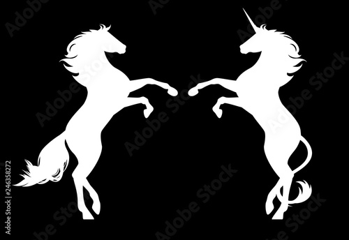 white horse and magic unicorn rearing up - black and white vector equine silhouettes