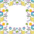 little bird flying with flowers garden pattern - 246372679