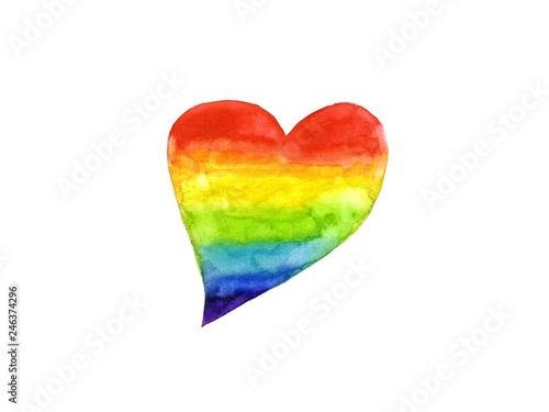 watercolor rainbow heart symbol LGBT or Lesbian, Gay, Bisexual,Transgender  isolated on white background . © atichat