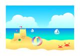 Beach sand and sky landscape background, Illustration summer concept