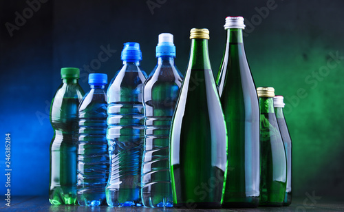 Different sorts of bottles containing mineral water © monticellllo