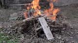 Static shot of green waste fire in garden - 246385810