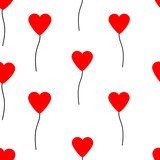 Seamless pattern with hearts. Red balloons.
