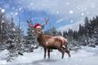 Leinwanddruck Bild - Stolzes Rentier steht mit Nikolausmütze im Schnee