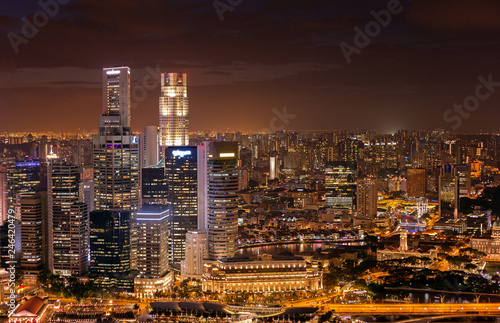 Singapore business district night view