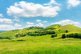 green hill in summer landscape. beautiful countryside scenery. fluffy clouds on a bright blue sky. tilt-shift and motion blur effect applied. - 246428030