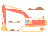 The driver of an excavator on a working career. He will load the ore. Large industrial machine. Bright trendy illustration on a white background.
