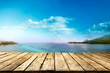 Table background of free space and summer landscapre of sea and sky
