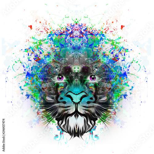 Цветной художественный лев на белом фоне - 246437474
