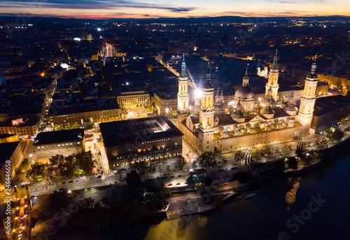 Night aerial view of Zaragoza with Basilica