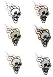 Set of burning skull icons