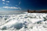 Breakwater at Lake Balaton in wintertime, Hungary ( Badacsony )