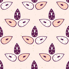 Pretty stylized 3 leaves pattern. Seamless repeating. Hand drawn vector illustration. Simple feminine leaf lineart in decorative purple white tones on pink background. Summer fashion, home decor. © Limolida Studio
