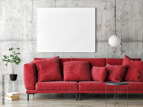 Mock up poster on gray wall, red modern furniture, minimal design, 3d render, 3d illustration © nikolarakic