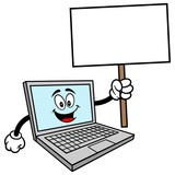 Computer Mascot with Sign - A vector cartoon illustration of a Computer Mascot with a Sign. - 246480414