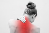 Young woman having pain in the back and neck. Health-care Concept. - 246484004