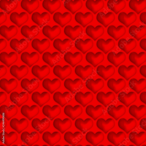 Red hearts on a red background. - 246490686