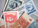 Vintage withdrawn banknotes of CCCP, DDR, Germany