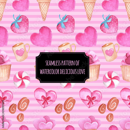 fototapeta na ścianę seamless pattern of watercolor sweet love cake candy