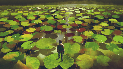 young man on giant lily pad leaf in fantasy swamp, digital art style, illustration painting © grandfailure