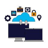 cloud computing monitor laptop upload download
