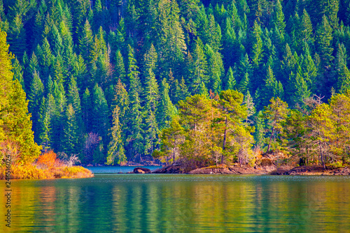 View of Gordon Bay in Cowichan Lake during the fall, BC, Canada - 246516024